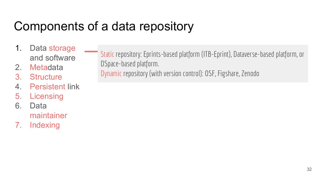 Components of a data repository 1. Data storage...