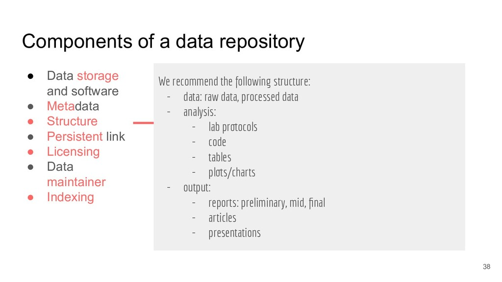 Components of a data repository ● Data storage ...