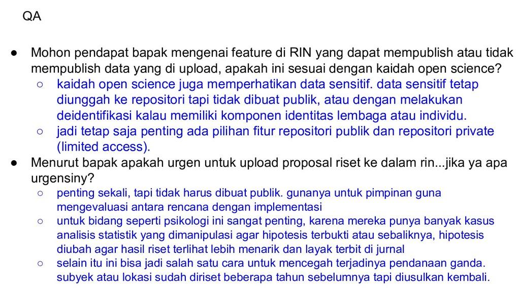 QA ● Mohon pendapat bapak mengenai feature di R...