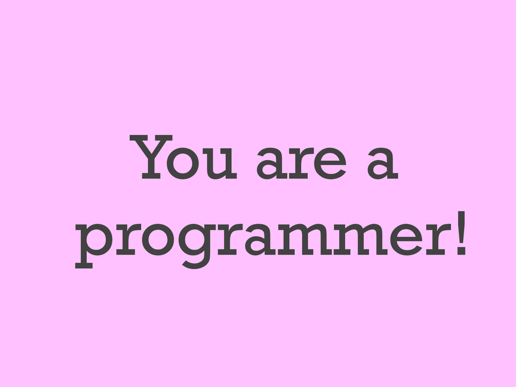 You are a programmer!