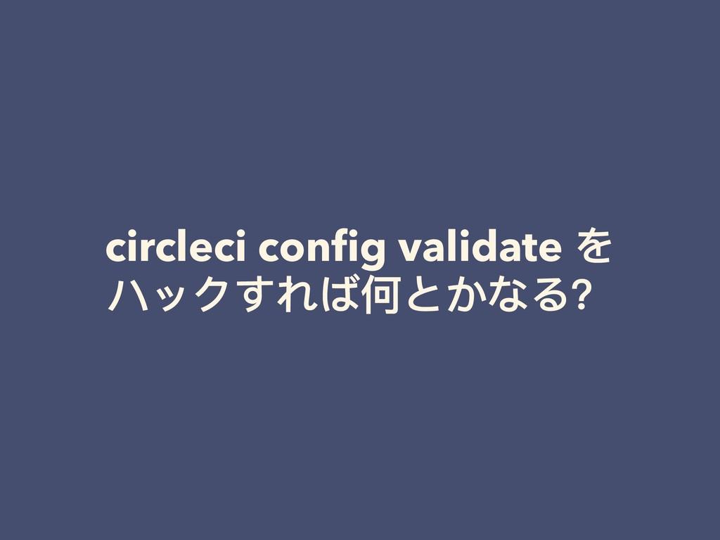 circleci config validate を ハックすれば何とかなる?