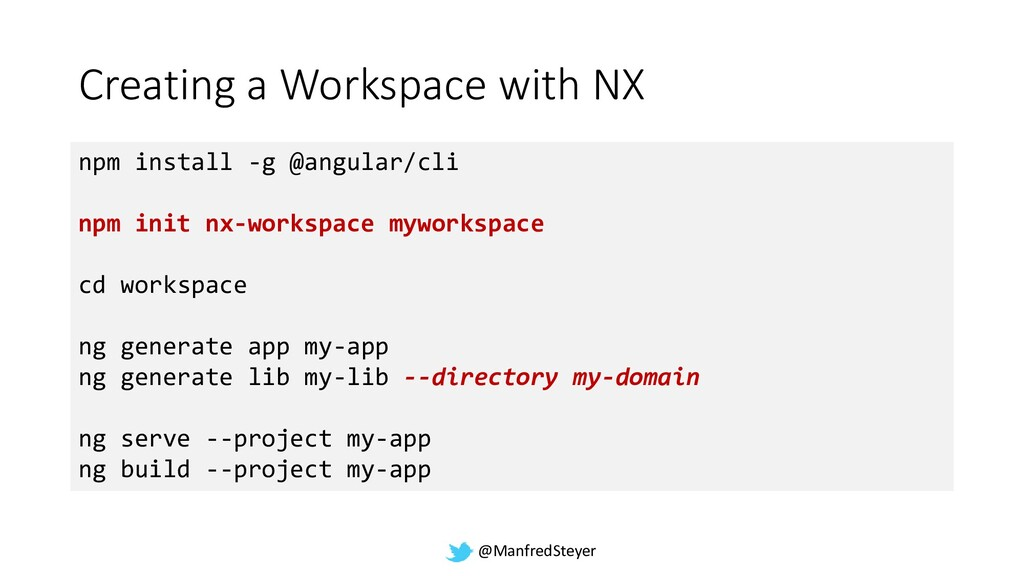 @ManfredSteyer Creating a Workspace with NX npm...