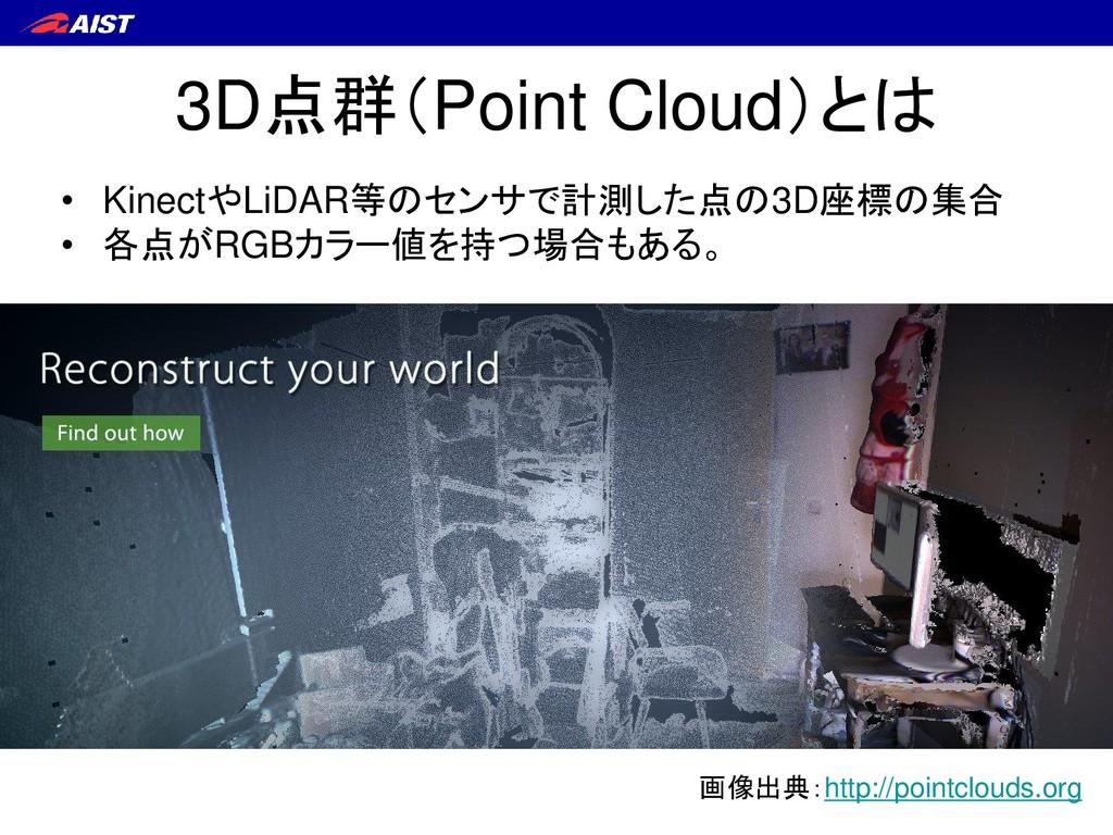 3D点群(Point Cloud)とは • KinectやLiDAR等のセンサで計測した点の3...