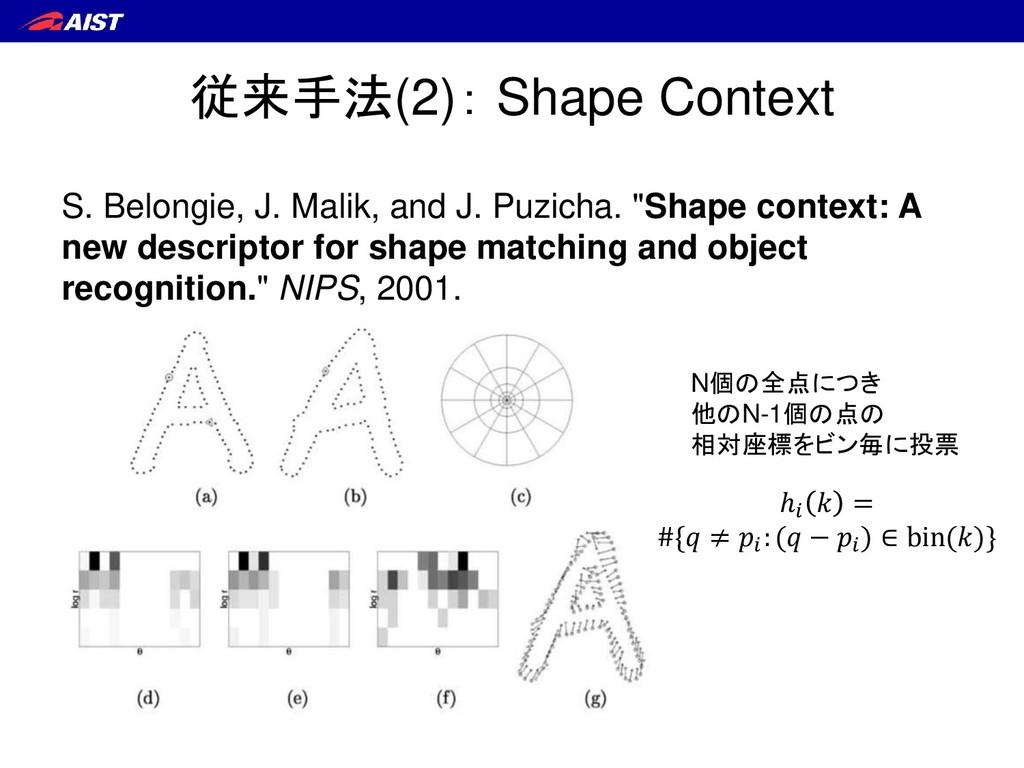 従来手法(2): Shape Context S. Belongie, J. Malik, a...