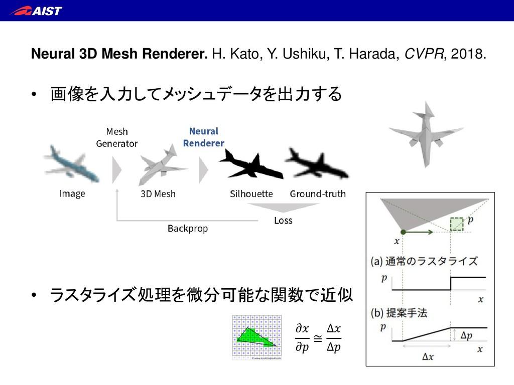 Neural 3D Mesh Renderer. H. Kato, Y. Ushiku, T....