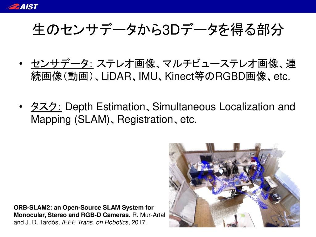 生のセンサデータから3Dデータを得る部分 • センサデータ: ステレオ画像、マルチビューステレ...