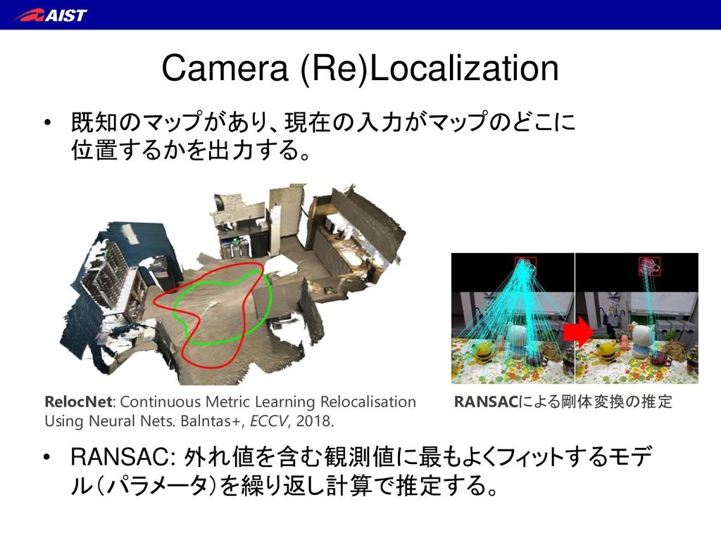 Camera (Re)Localization • 既知のマップがあり、現在の入力がマップのど...