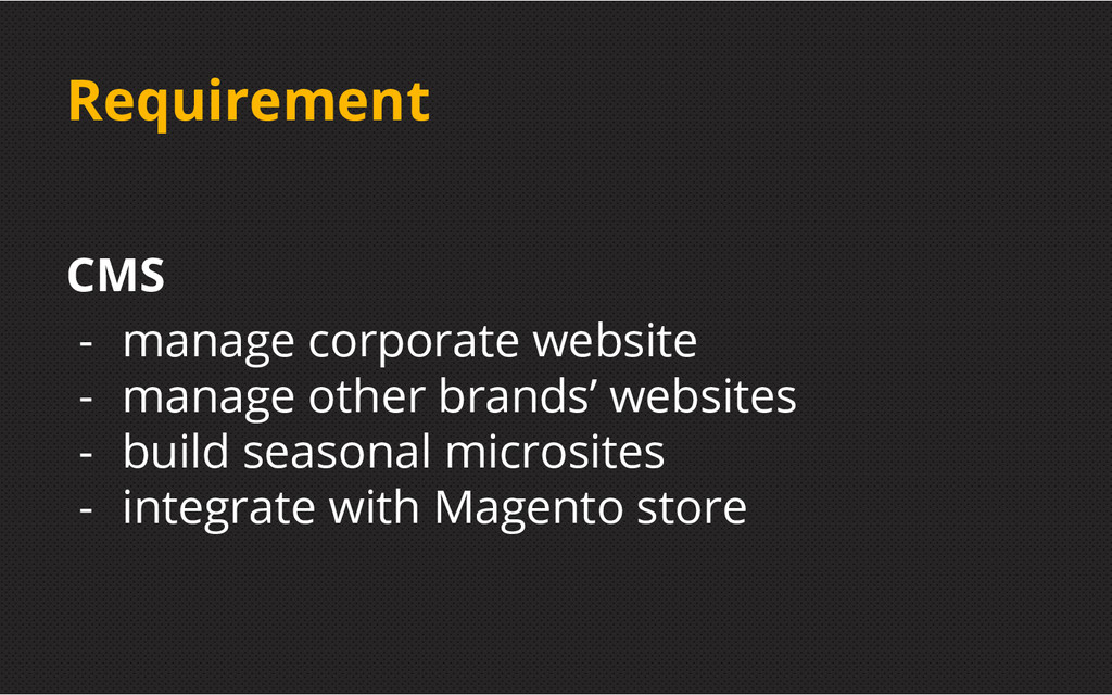 Requirement CMS - manage corporate website - ma...