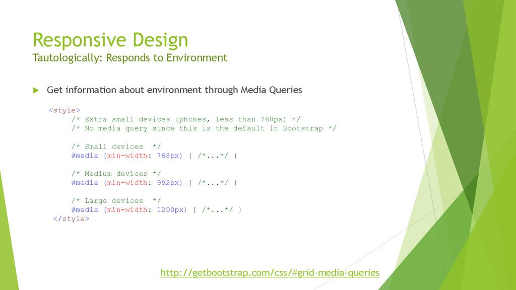 Responsive Design Tautologically: Responds to E...