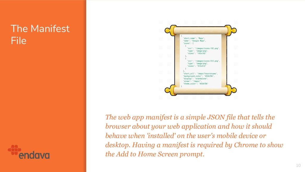 The Manifest File The web app manifest is a sim...