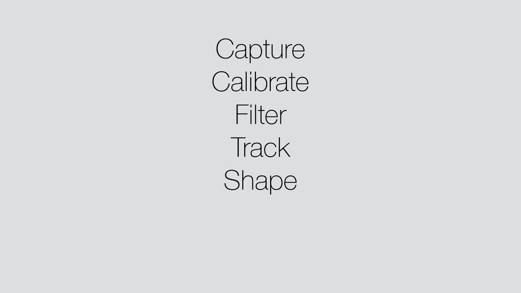 Capture Calibrate Filter Track Shape !
