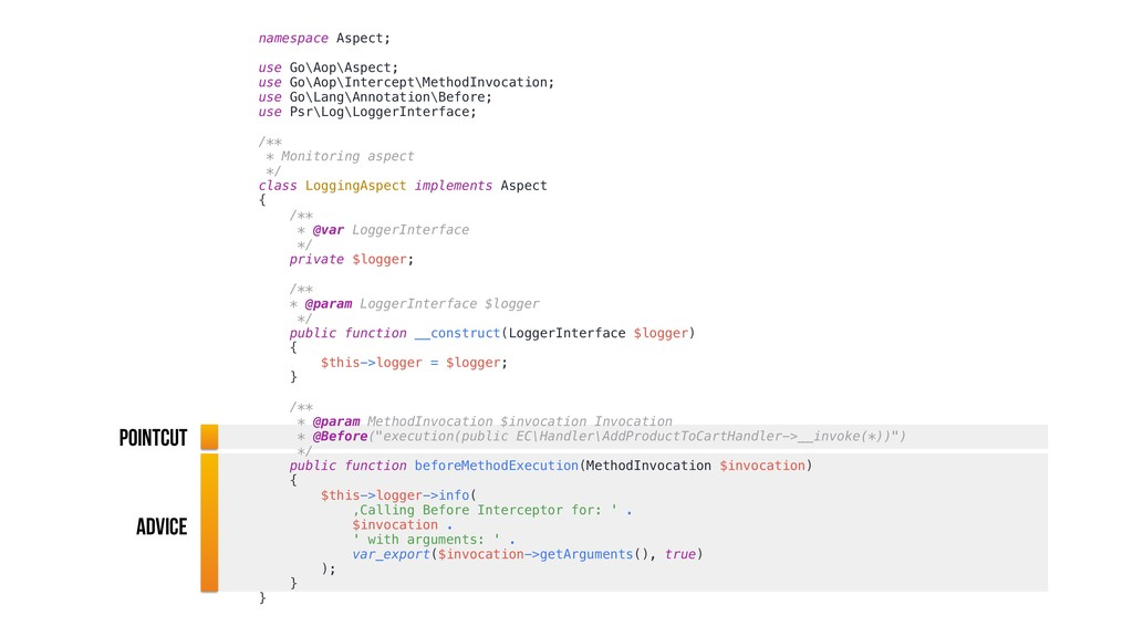 namespace Aspect; use Go\Aop\Aspect; use Go\Aop...