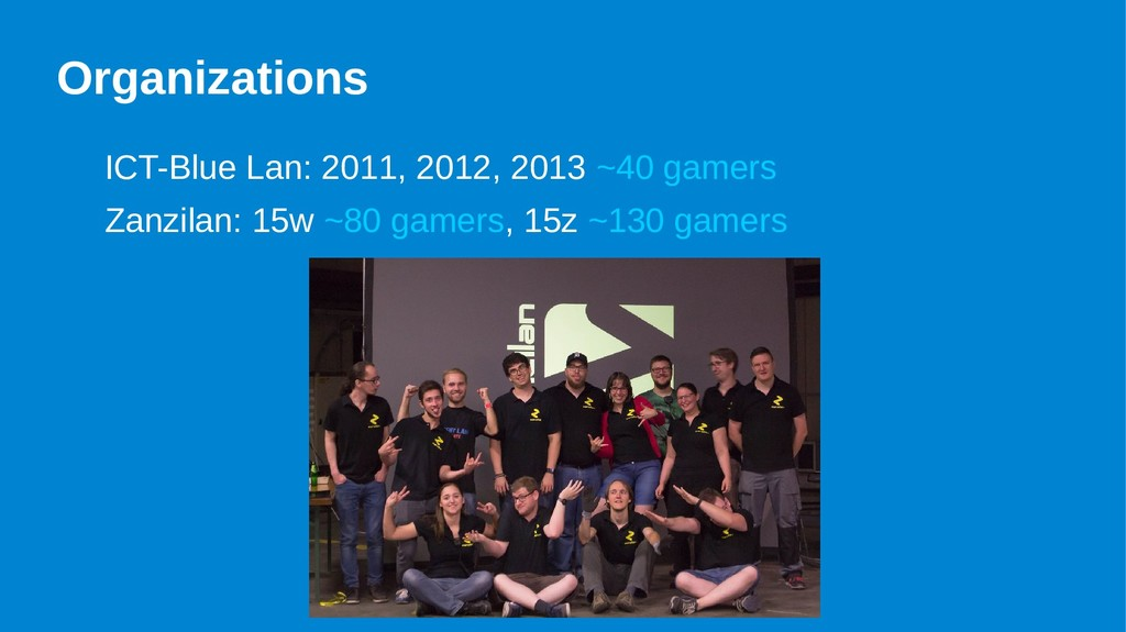 Organizations ICT-Blue Lan: 2011, 2012, 2013 ~4...