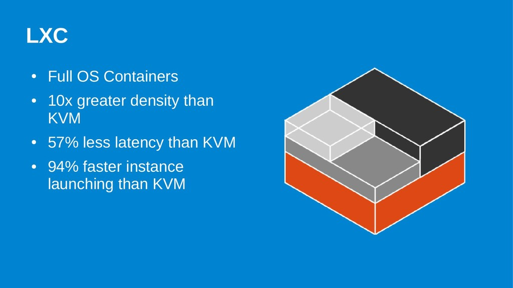 LXC ● Full OS Containers ● 10x greater density ...