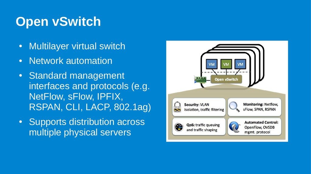 Open vSwitch ● Multilayer virtual switch ● Netw...