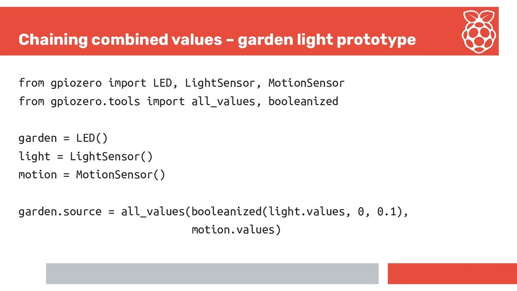 Chaining combined values – garden light prototy...