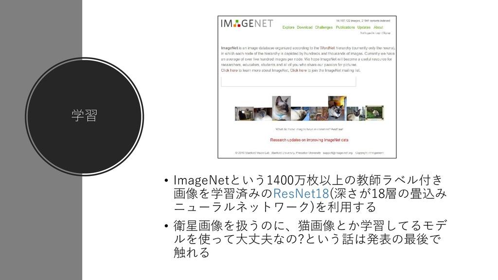 学習 • ImageNetという1400万枚以上の教師ラベル付き 画像を学習済みのResNet...