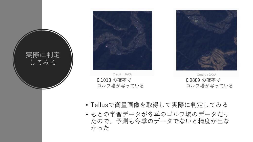 実際に判定 してみる • Tellusで衛星画像を取得して実際に判定してみる • もとの学習デ...