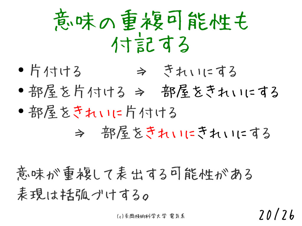 (c)長岡技術科学大学 電気系 20/26 意味の重複可能性も 付記する ● 片付ける    ...