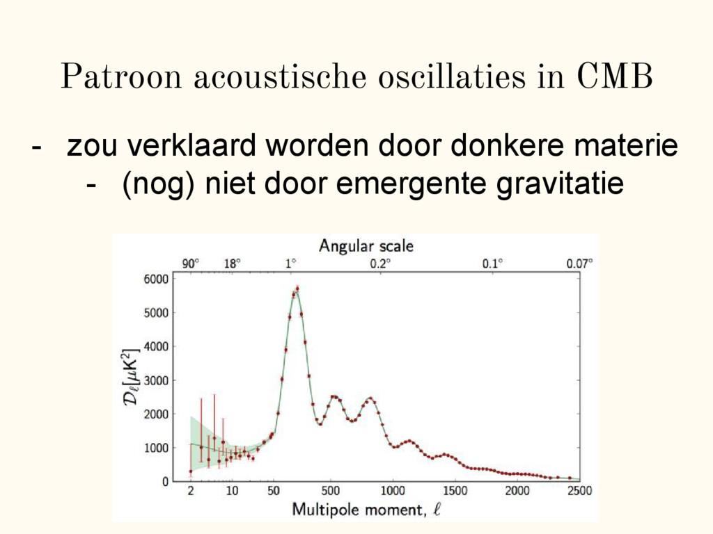 Patroon acoustische oscillaties in CMB - zou ve...