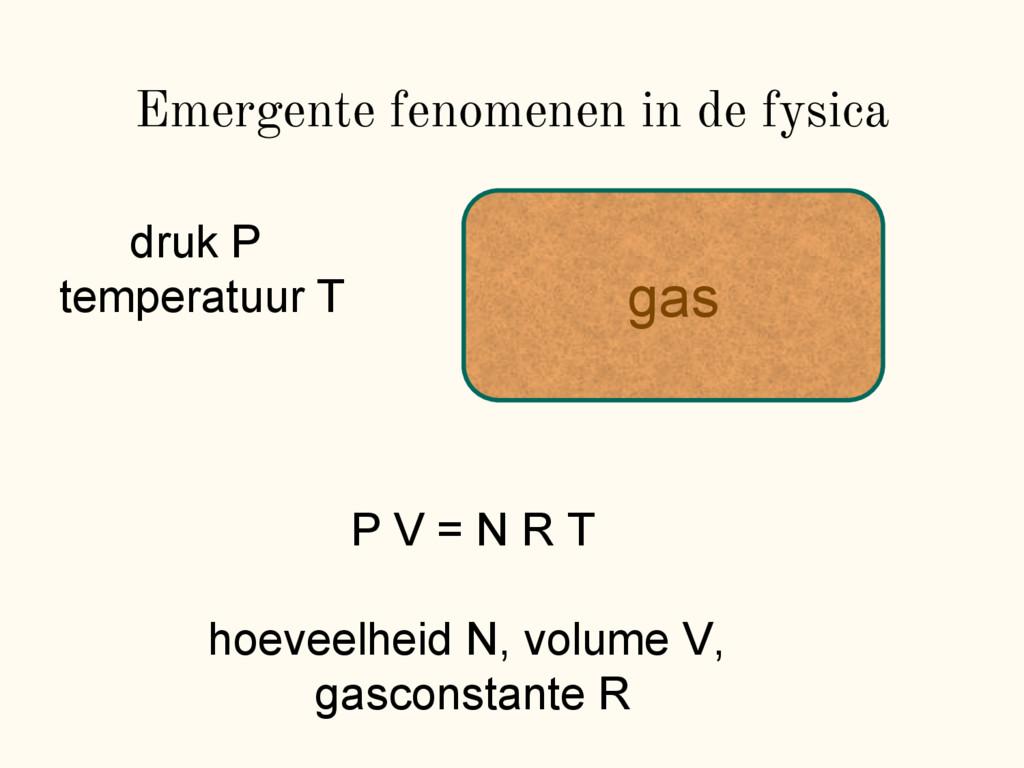 gas Emergente fenomenen in de fysica P V = N R ...