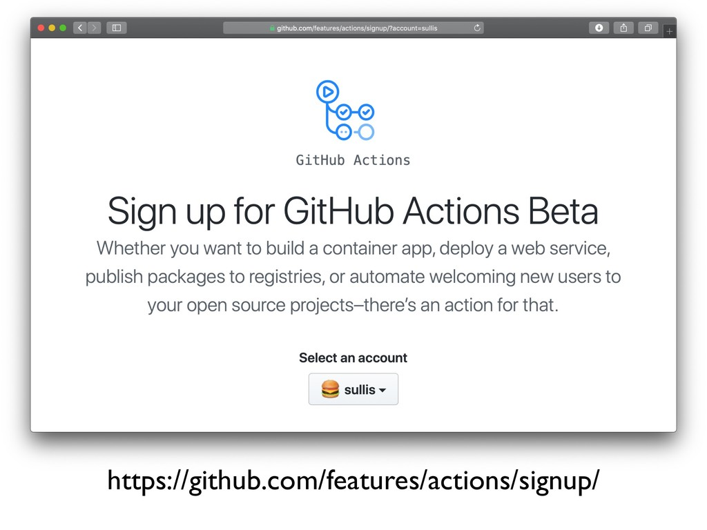 https://github.com/features/actions/signup/