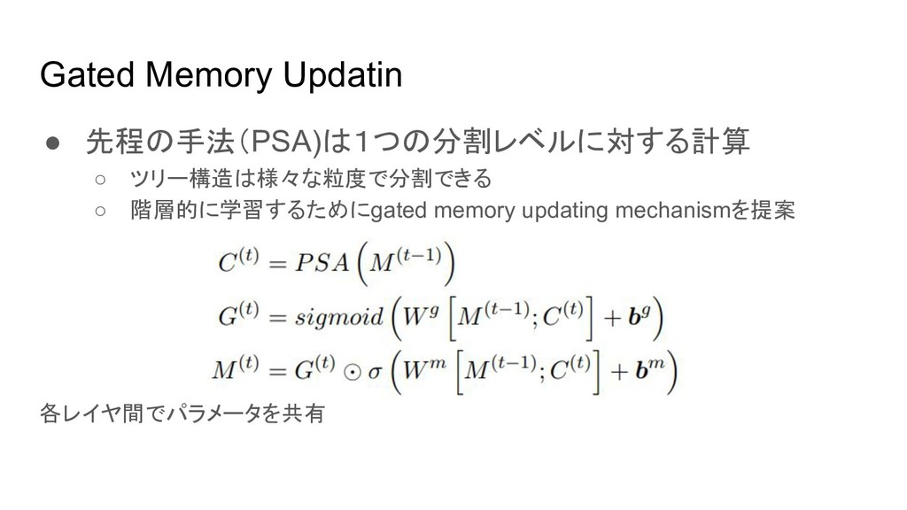 Gated Memory Updatin ● 先程の手法(PSA)は1つの分割レベルに対する計...