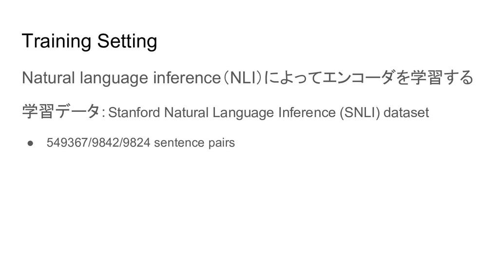 Training Setting Natural language inference(NLI...