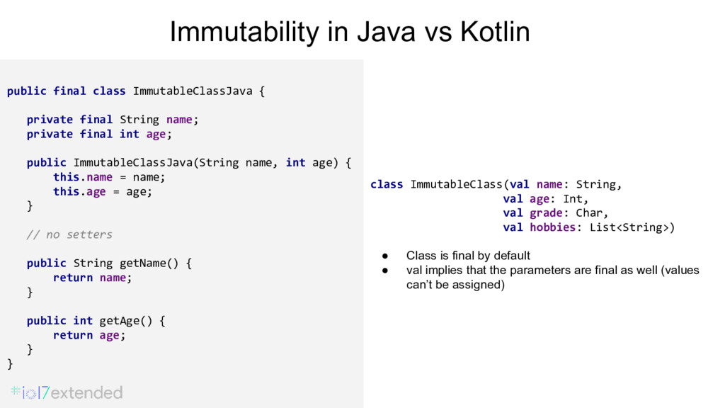 public final class ImmutableClassJava { private...