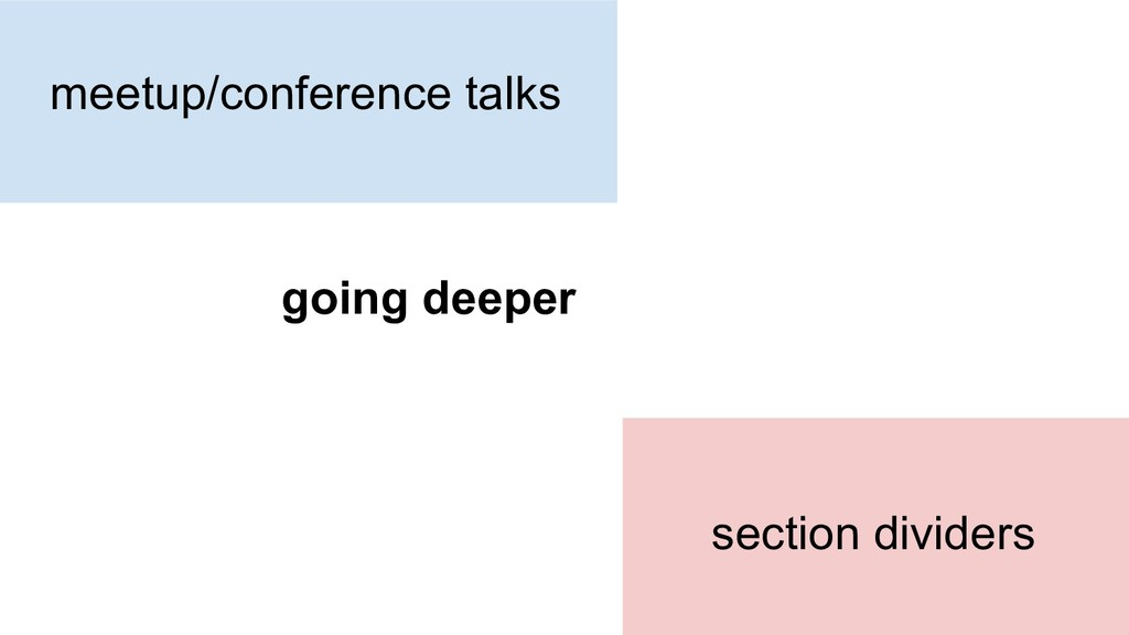 meetup/conference talks going deeper section di...
