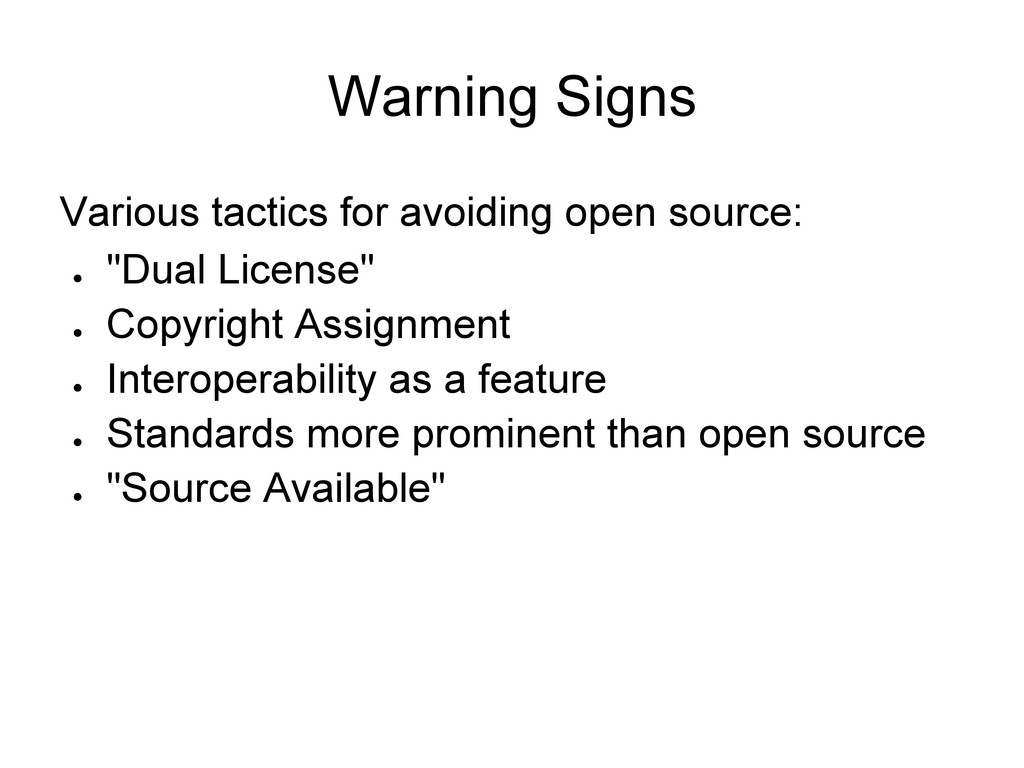 Warning Signs Various tactics for avoiding open...