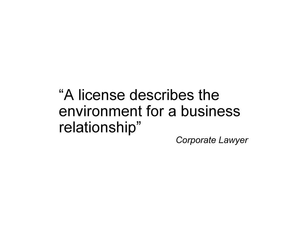 """""""A license describes the environment for a busi..."""