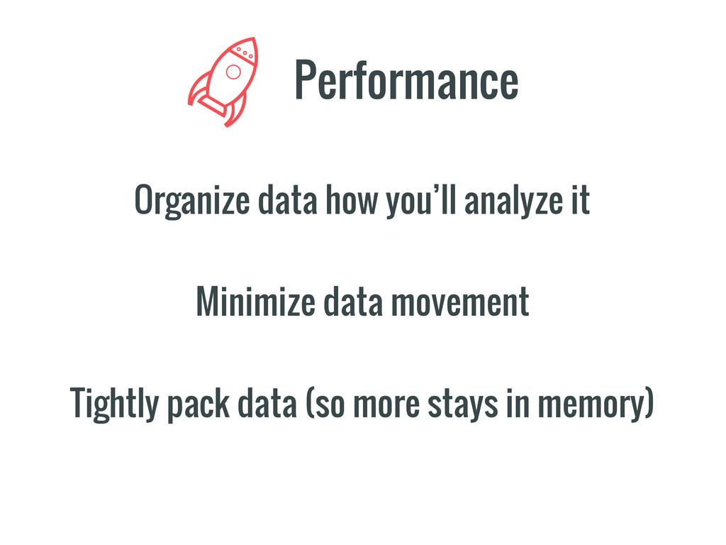 Organize data how you'll analyze it Performance...