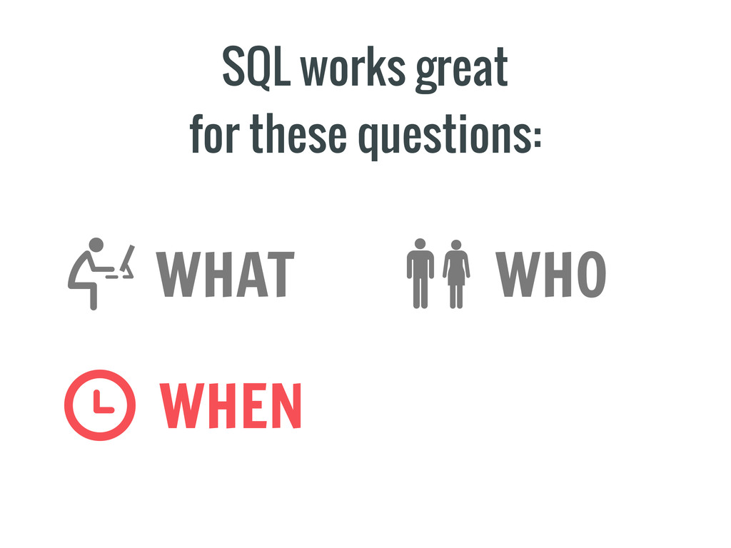 SQL works great for these questions: WHO WHEN W...