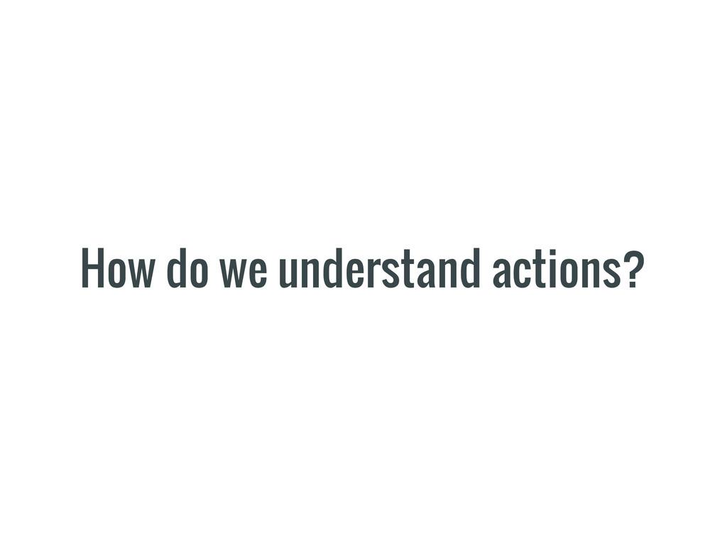 How do we understand actions?