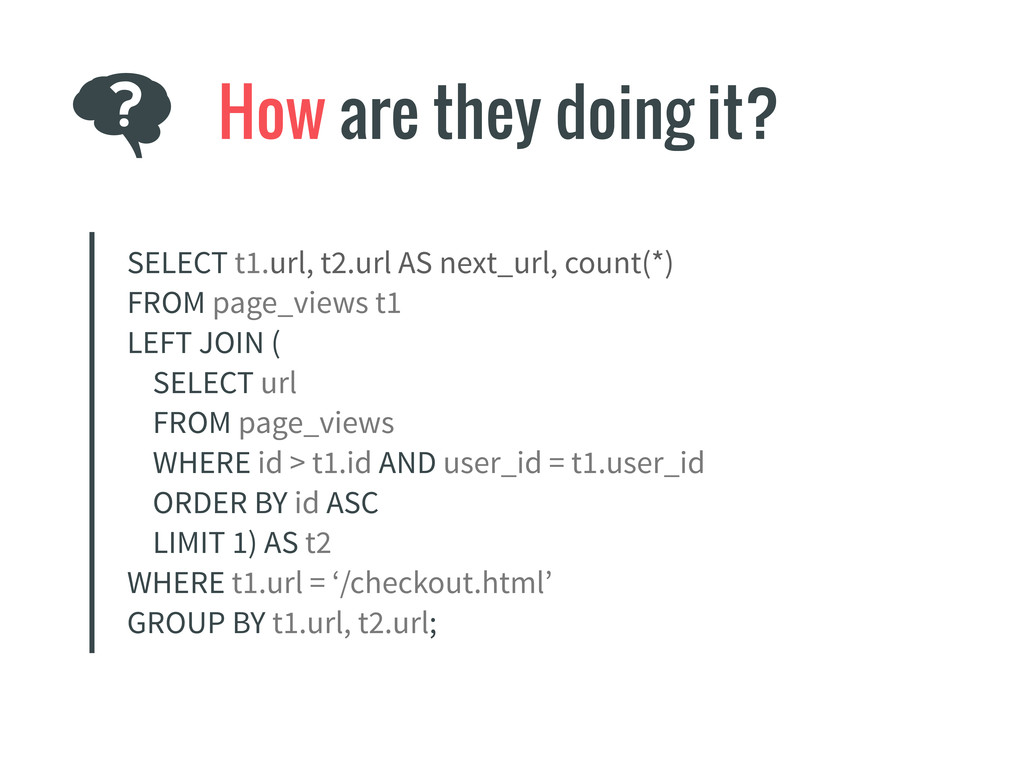 How are they doing it? SELECT t1.url, t2.url AS...