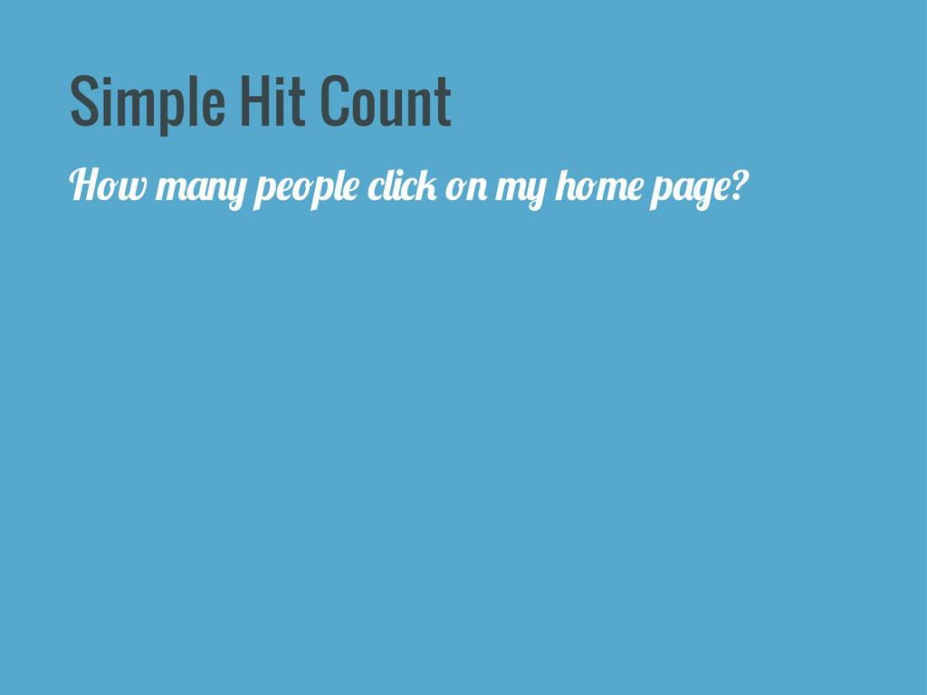 Simple Hit Count H*w .&!+ p#*p,# -,'-/ *! .+ )*...
