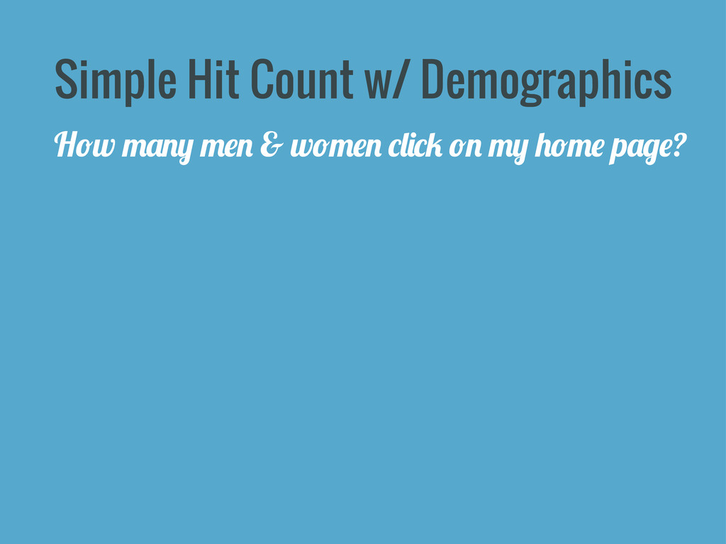 Simple Hit Count w/ Demographics H*w .&!+ .#! &...