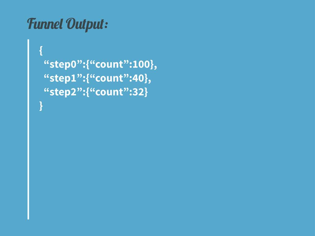 """{ """"step0"""":{""""count"""":100}, """"step1"""":{""""count"""":40}, ..."""
