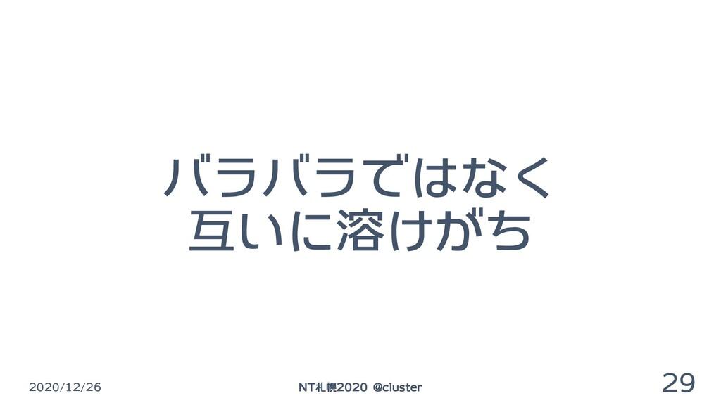 バラバラではなく 互いに溶けがち 2020/12/26 NT札幌2020 @cluster 29