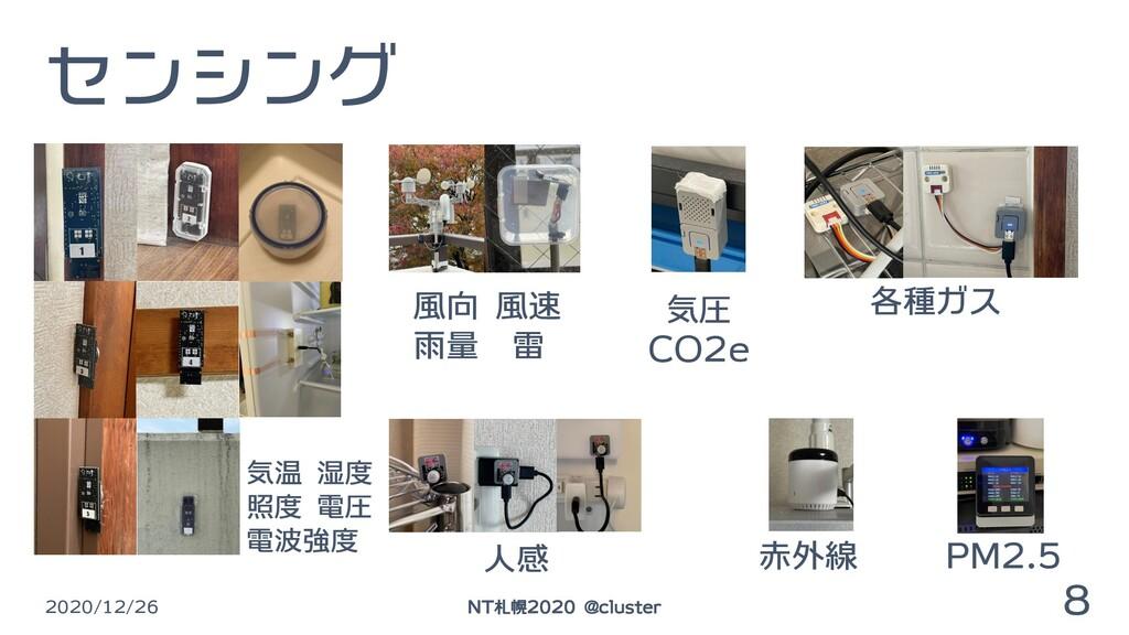 センシング 2020/12/26 8 NT札幌2020 @cluster 気温 湿度 照度 電...