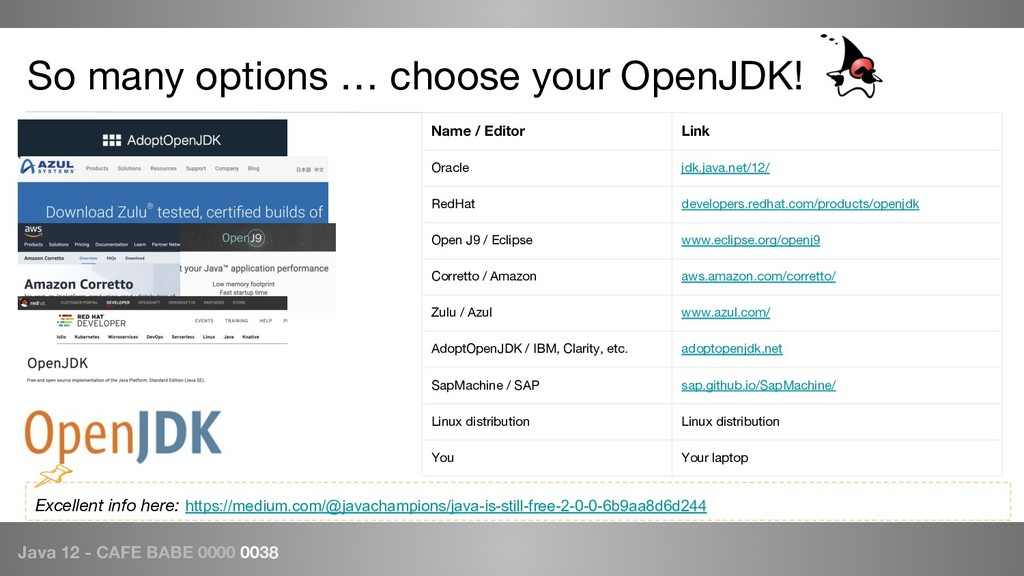 Java 12 - CAFE BABE 0000 0038 So many options …...