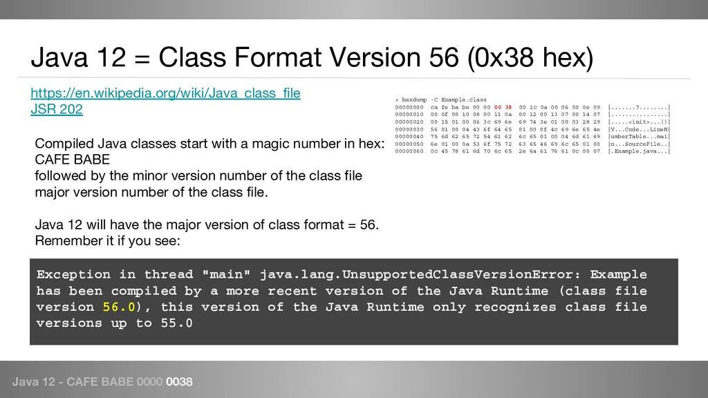 Java 12 - CAFE BABE 0000 0038 https://en.wikipe...