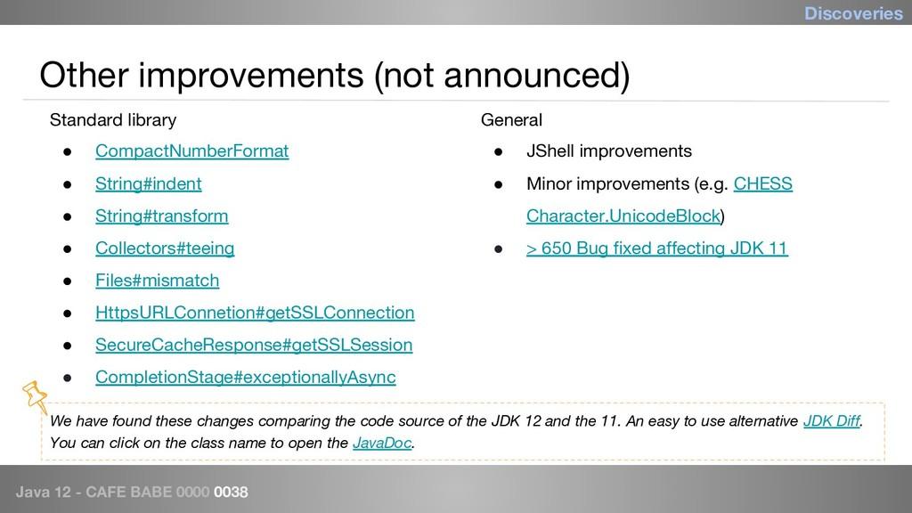 Java 12 - CAFE BABE 0000 0038 Other improvement...