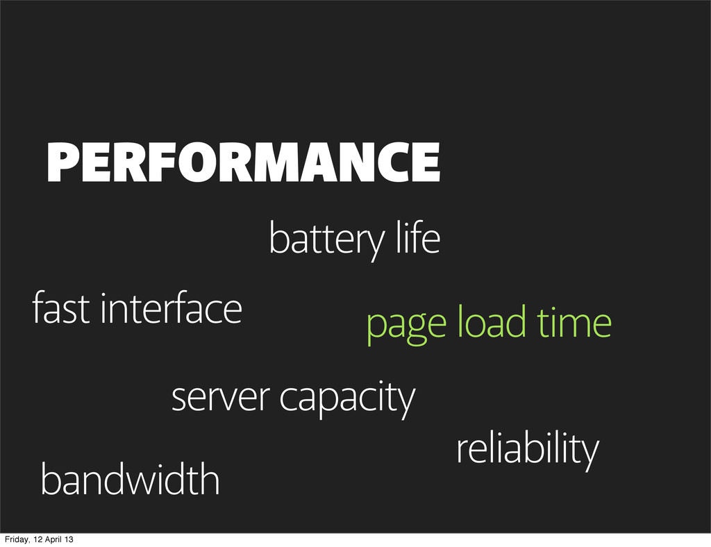 page load time PERFORMANCE page load time bandw...