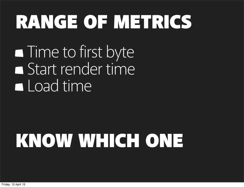 RANGE OF METRICS Time to first byte Start rende...