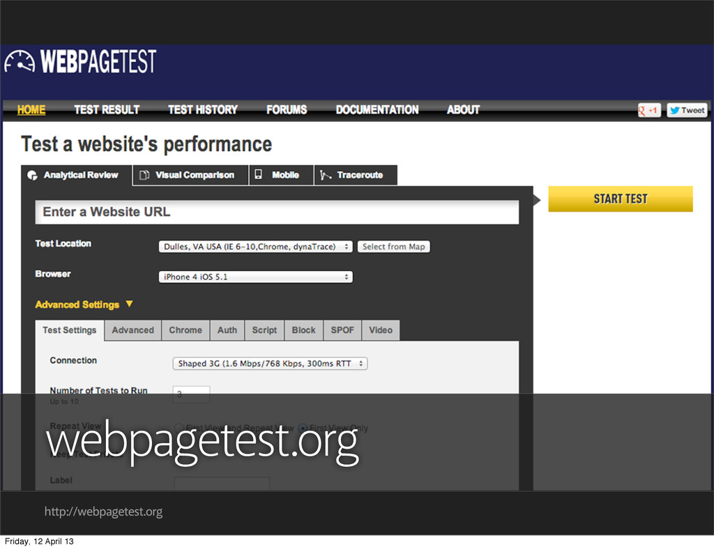 http://webpagetest.org webpagetest.org Friday, ...