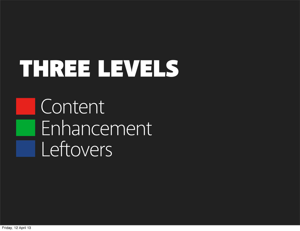 Content THREE LEVELS Enhancement Leftovers Frid...