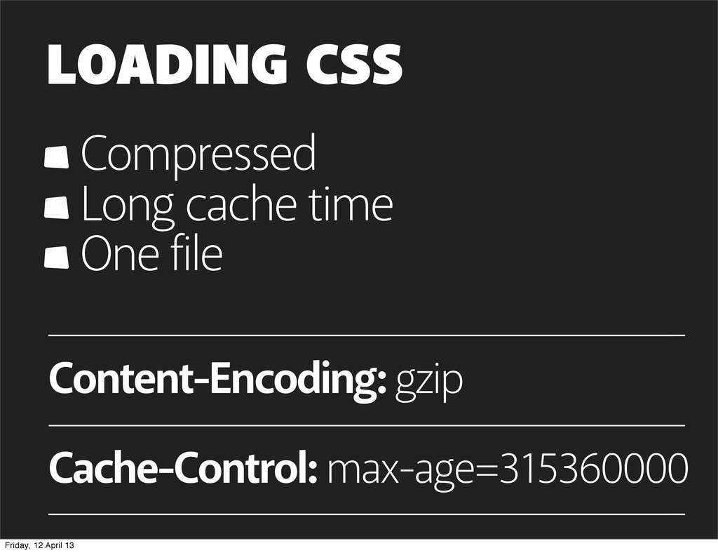 LOADING CSS Compressed Long cache time One file...