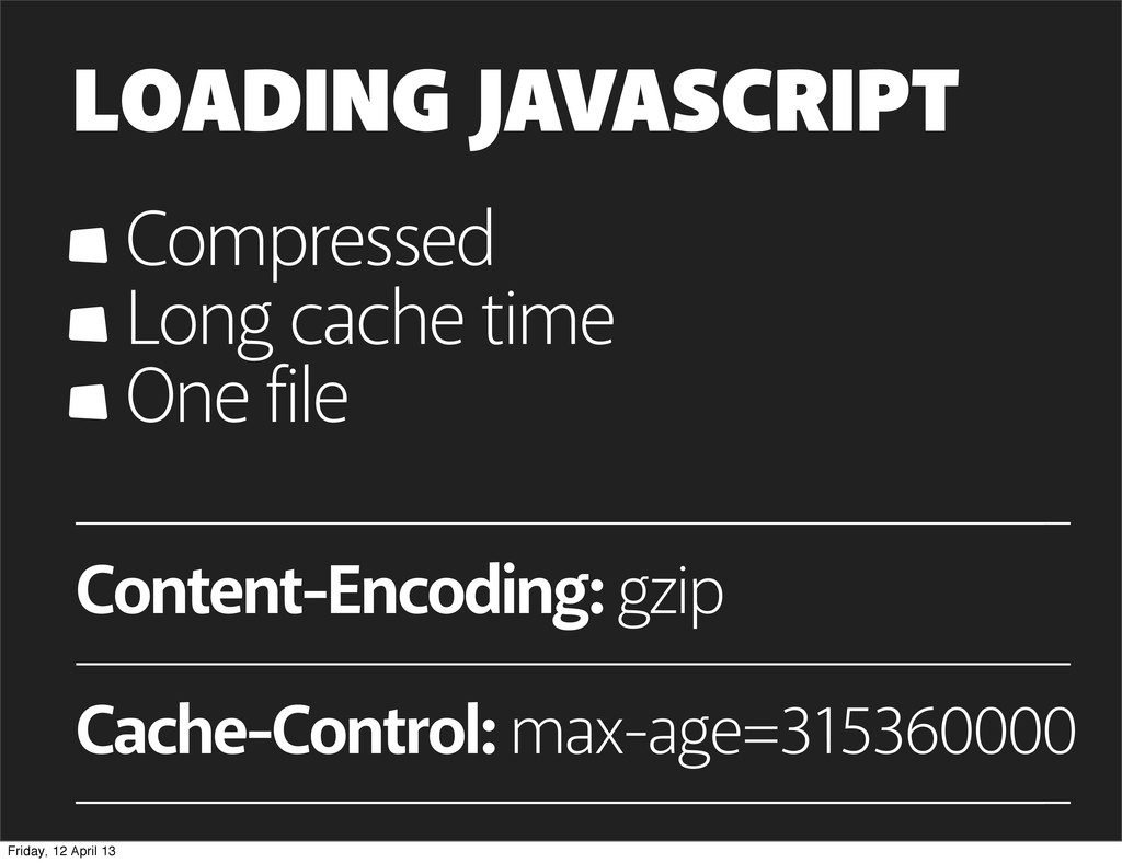 LOADING JAVASCRIPT Compressed Long cache time O...